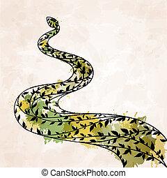 Decorative floral green snake