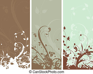 floral grunge panels - Decorative floral grunge panels