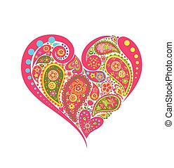 Decorative floral heart shape with paisley