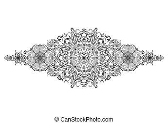 Decorative floral mandala border element on white background