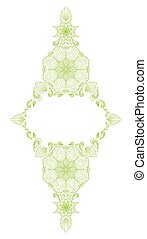 Decorative floral mandala frame element on white background