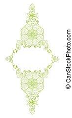 Decorative floral mandala frame element on white background