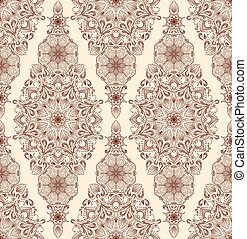 Decorative floral mandala seamless pattern on beige background