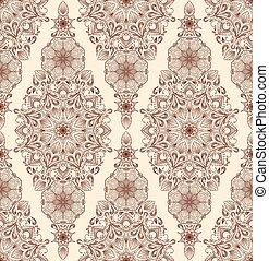 Decorative floral mandala seamless pattern on beige background