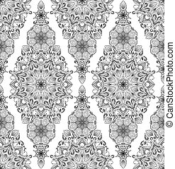Decorative floral mandala seamless pattern on white background