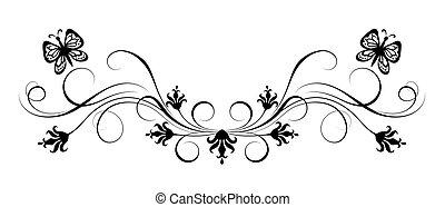 Decorative floral ornament - Decorative flora ornament with...