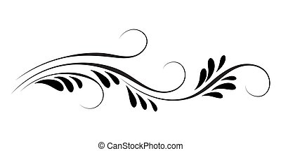 Decorative floral ornament for stencil isolated on white...