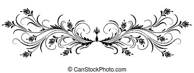 Decorative floral ornament in retro style isolated on white...