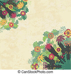Decorative floral ornament on grunge background