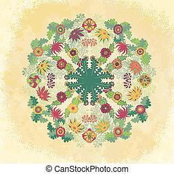 Decorative floral ornament on grunge background
