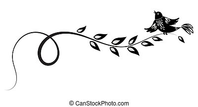 Decorative floral ornament with bird for stencil isolated on...