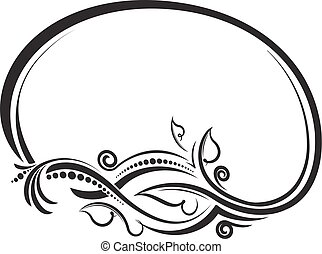 Decorative floral oval black vector frame. Vector illustration.