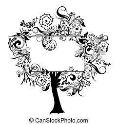 Decorative floral tree, vector