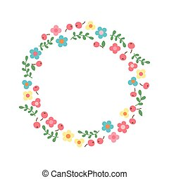 Decorative floral wreath. Frame from flowers, leaves and berries.