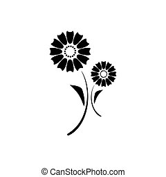 Decorative flower icon in flat style isolated