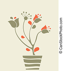 Decorative Flowerpot - Card illustration with decorative...