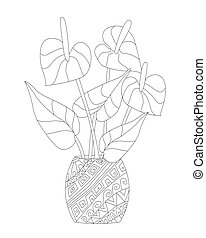 decorative flowerpot with growing flowering Anthurium houseplant for your coloring book