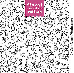 Decorative flowers doodle seamless pattern