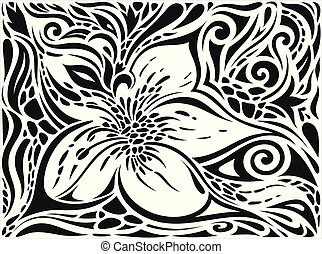 Decorative Flowers in Black & White, Floral decorative ornate Background tattoo graphic design