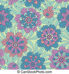 Decorative flowers. Seamless floral pattern.