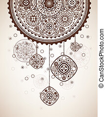 Decorative folk graphic background with geometric patterns.