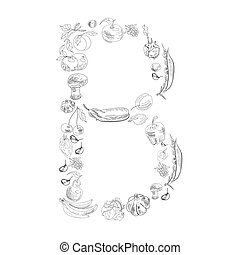 Decorative font, Letter B - Decorative font with fruit and ...