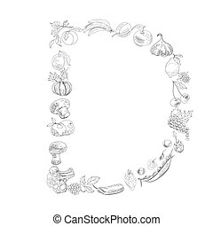 Decorative font, Letter D - Decorative font with fruit and ...