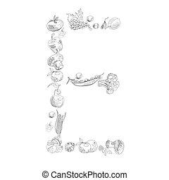 Decorative font, Letter E - Decorative font with fruit and ...