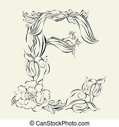 Letter E - Decorative font, Letter E