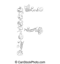 Decorative font with fruit and vegetable, Letter F
