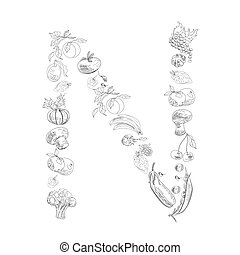 Decorative font, Letter N - Decorative font with fruit and...