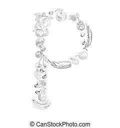 Decorative font, Letter P
