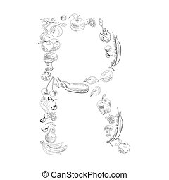 Decorative font, Letter R - Decorative font with fruit and...