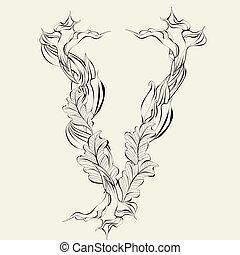 Letter V - Decorative font, Letter V