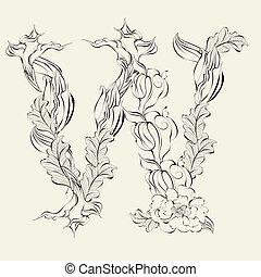 Decorative font, Letter W