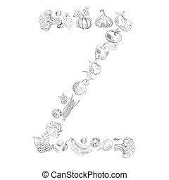 Decorative font with fruit and vegetable, Letter Z