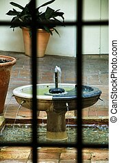 Decorative fountain in an andalusian patio