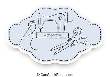 Decorative frame for advertising stickers with  hand drawn sewing tools