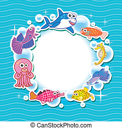 Decorative frame for photo with tropical bright fishes.