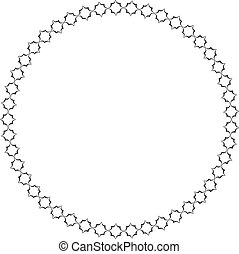 Decorative frame from circles. Round shape. Geometric pattern in black color
