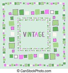 Decorative frame grunge cubes. Vector illustration.