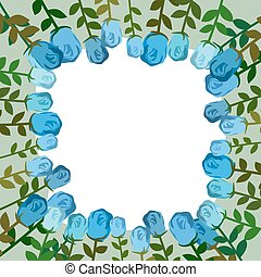 Decorative frame of blue roses. Vintage background of flowers. Vector illustration