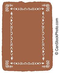 decorative frame on brown background, vector illustration