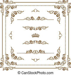Vector set of decorative horizontal elements, border and frame. Page decoration.