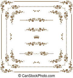 decorative frame - Vector set of gold decorative horizontal ...