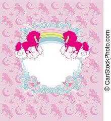 decorative Frame with a unicorns and rainbow