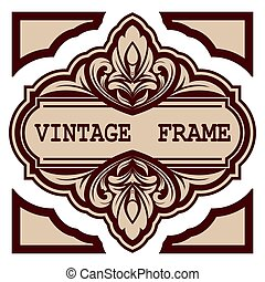 decorative frame with beautiful filigree and retro border in...