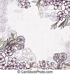Decorative frame with blossoming cherry or sakura