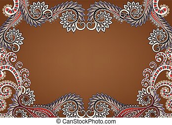 decorative frame with colorful d swirls on a brown background