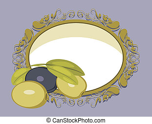 Decorative frame with olives